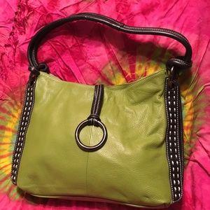 Vera Pelle Green Leather Bag Black Trim EUC